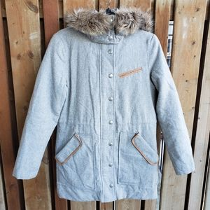 Gap Wool Heather Grey Faux Fur Hood Coat Size XS